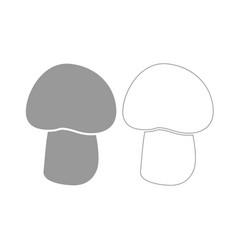 Mushroom - champignon grey set icon vector