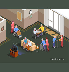 Nursing home isometric poster vector
