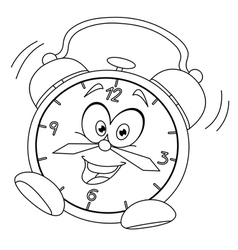 Outlined cartoon alarm clock vector
