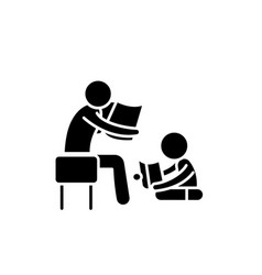 Parent reading a story to a child black icon vector