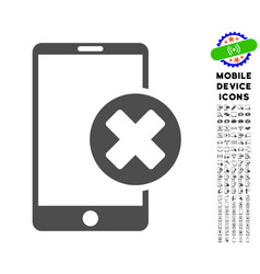 Phone cancel icon with set vector
