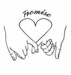 pinky promise outline with heart vector image
