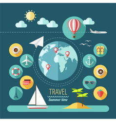 Planning a summer vacation travelling vector image
