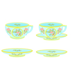 Porcelain tea cup and saucer with floral pattern vector