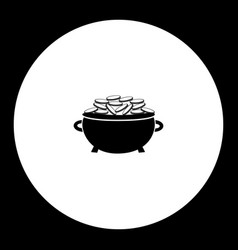 Pot gold simple silhouette black icon eps10 vector