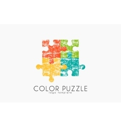 Puzzle logo Color puzzle design Creative logo vector image