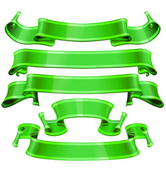 realistic green glossy ribbons with a stripe vector image
