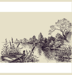 River flow scene hand drawn landscape vector