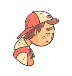 Sad Boy In Cap And College Jacket Hand Drawn Emoji vector image