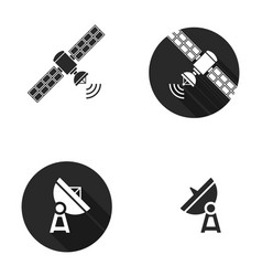 satellite silhouoette flat icons vector image