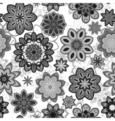 Seamless flower retro pattern in Gray vector image
