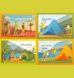 set 2d flat outdoor activities camping flat 2d vector image