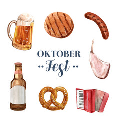 Set isolated watercolor oktoberfest on white vector