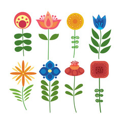 set of stylized flowers collection vector image