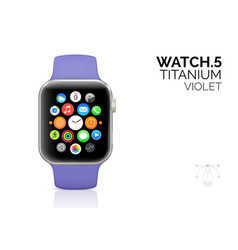 smart watch with violet strap realistic vector image