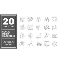 Social media marketing icons smm icons set vector