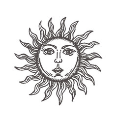 Sun with face stylized as engraving hand drawn vector