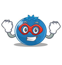 Super hero blueberry character cartoon style vector