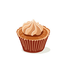Sweet delicious cupcake with cream vector