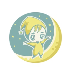 The kid on the moon vector