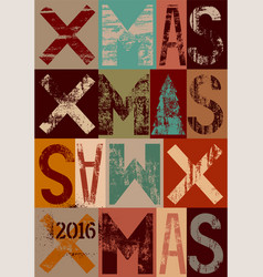 typographical vintage grunge christmas card vector image