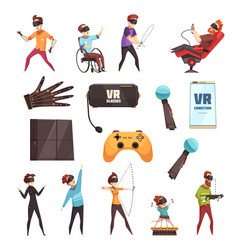 Virtual reality vr accessories set vector
