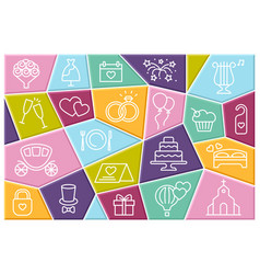 wedding line icons set with vector image