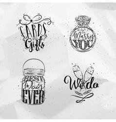 Wedding symbols vector image