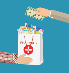 white shopping bag with different medical pills vector image