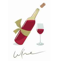 Wine bottle with a glass vector