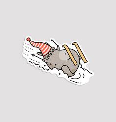 Winter sticker with fat funny cat skier cartoon vector