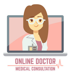Woman online doctor consultation concept design vector