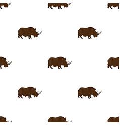 Woolly rhinoceros icon in cartoon style isolated vector