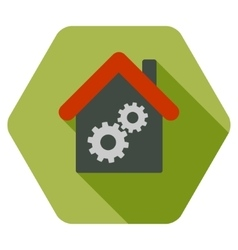 Workhouse Flat Hexagon Icon with Long Shadow vector image