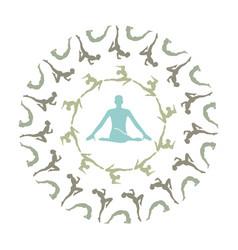 yoga mandala- unique yoga silhouette mandala vector image
