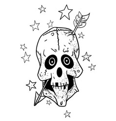 cartoon image of magic skull with arrow through vector image vector image
