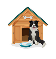 dog sits beside wooden doghouse and bowl with bone vector image