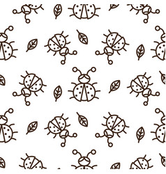 ladybug and outline leaves on white seamless vector image vector image
