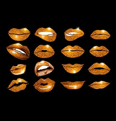Set of 16 glamour lips with orange lipstick colors vector image vector image