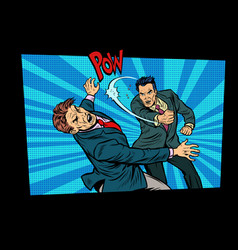 beating two fighting men strong punch vector image