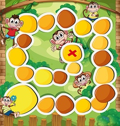 Boardgame template with monkey in the woods vector image