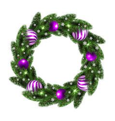 christmas wreath with lilac balls vector image