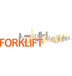 Forklift how does it work text background word vector