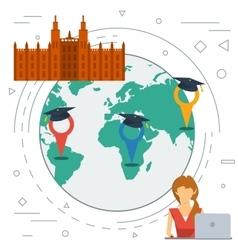 Online EDUCATION - line background vector image