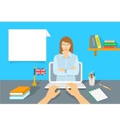 Online Internet Language courses flat vector image
