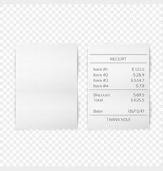 Printed receipt vector image