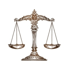 Scales of justice Vintage sketch vector image