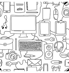 Seamless pattern with digital office devices vector image