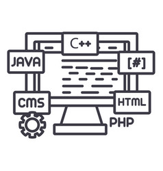 web development line icon sign vector image