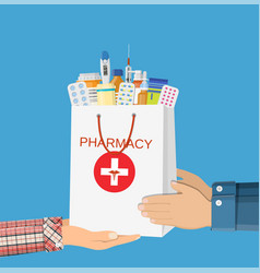 white shopping bag with different medical pills vector image vector image